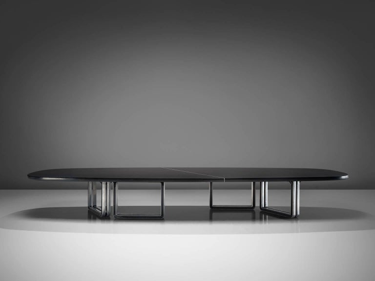 Italian Tecno Design Centre Large Black Table For Sale