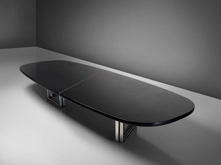 Lacquered Tecno Design Centre Large Black Table For Sale