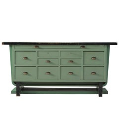 Belgian Midcentury Freestanding Counter in Turquoise