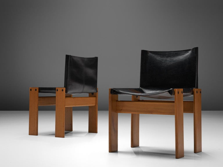Leather Tobia & Afra Scarpa for Molteni Twenty 'Monk' Chairs For Sale