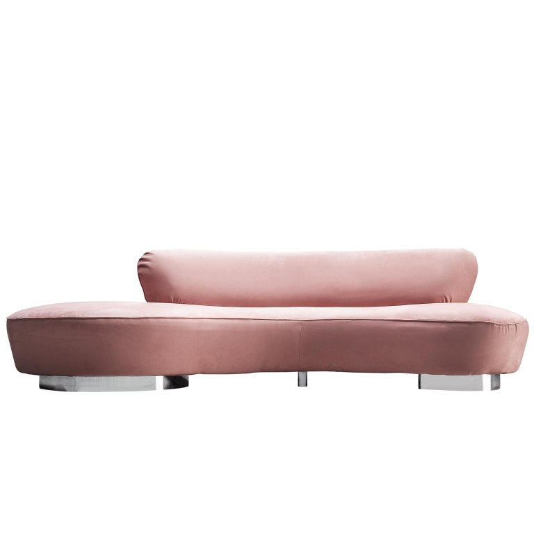 Vladimir Kagan Serpentine Sofa in Pink