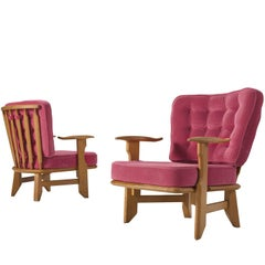 Guillerme & Chambron Carved Solid Oak Chairs