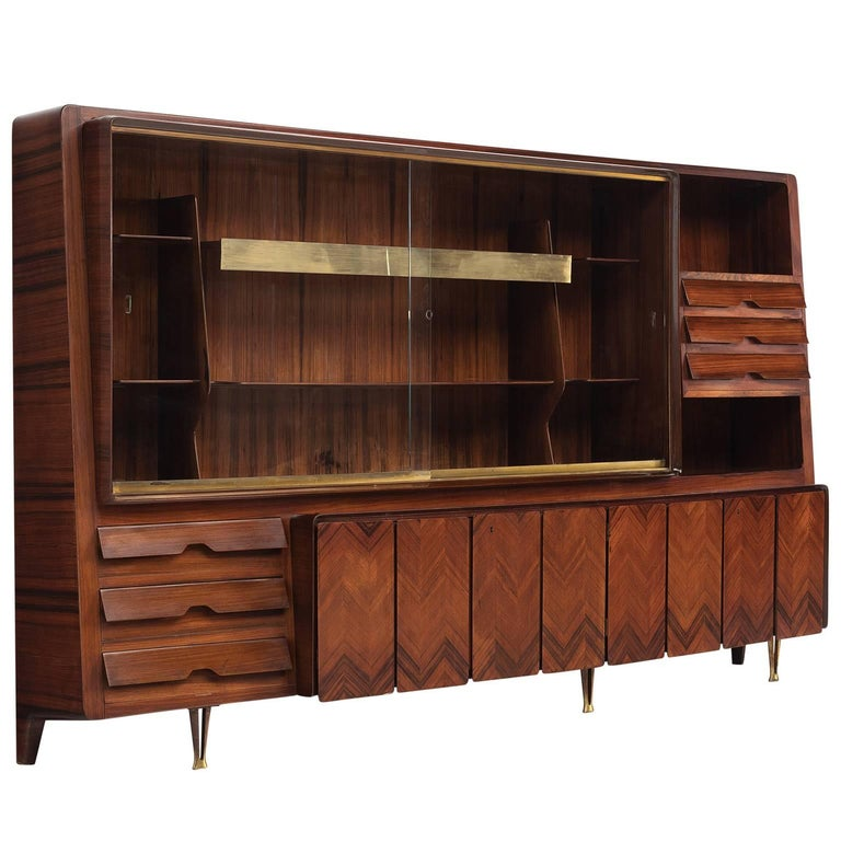 Large Dassi Milano Cabinet with Brass, 1950s For Sale
