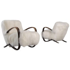 Jindrich Halabala Lounge Chairs with Tibetan Lambswool