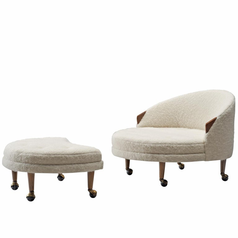 Adrian Pearsall Havana Lounge Chair and Ottoman in Pierre Frey Wool For Sale
