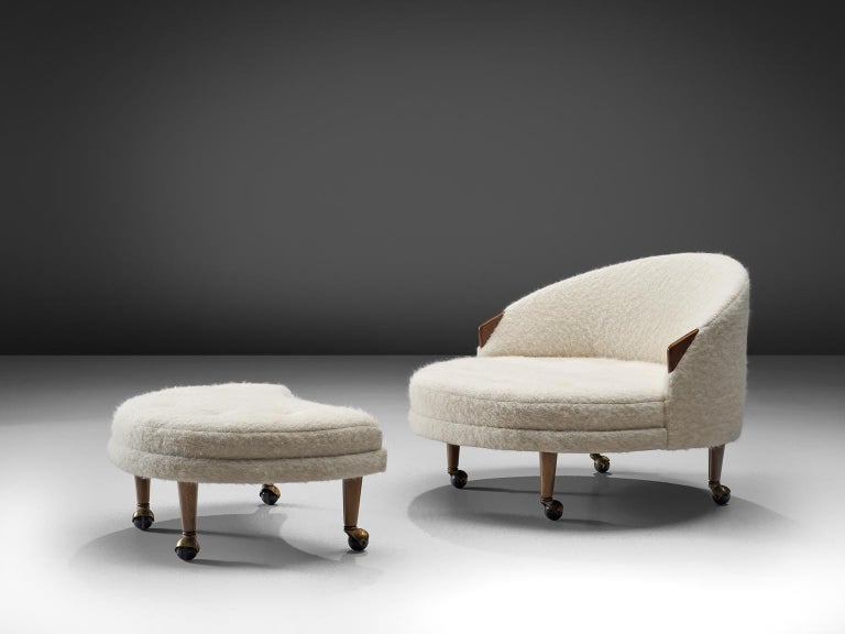 Adrian Pearsall for Craft Associates, 'Havana' lounge chair and ottoman, walnut and Pierre Frey woollen upholstery with walnut, United States, 1960s. (This item is meant mainly for the European market.)  This lounge chair and ottoman with small