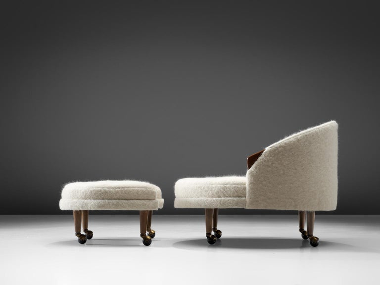 Mid-Century Modern Adrian Pearsall Havana Lounge Chair and Ottoman in Pierre Frey Wool For Sale