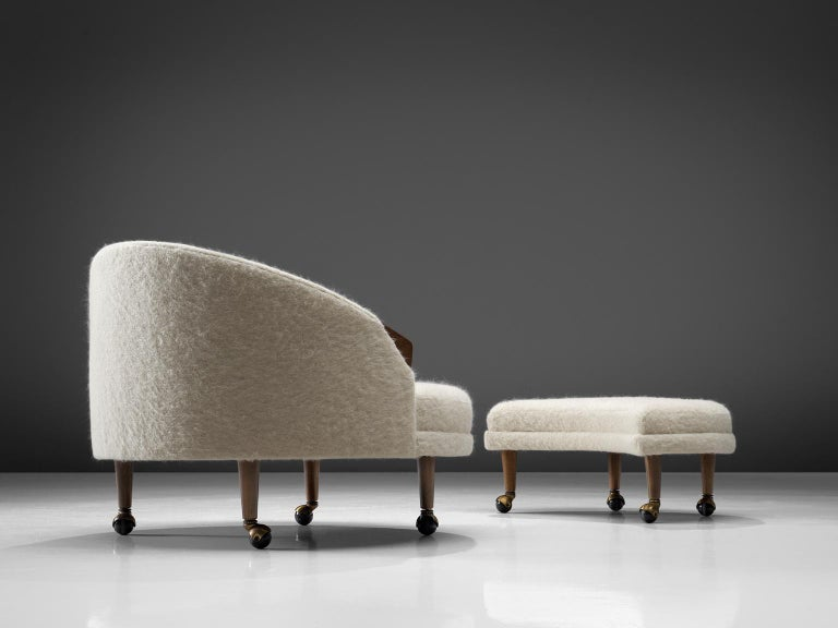 American Adrian Pearsall Havana Lounge Chair and Ottoman in Pierre Frey Wool For Sale