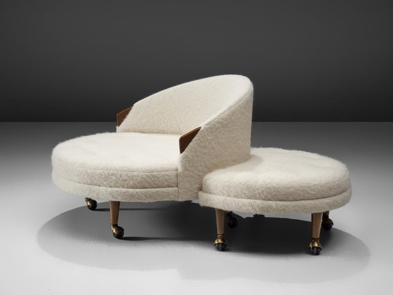 Adrian Pearsall Havana Lounge Chair and Ottoman in Pierre Frey Wool In Excellent Condition For Sale In Waalwijk, NL