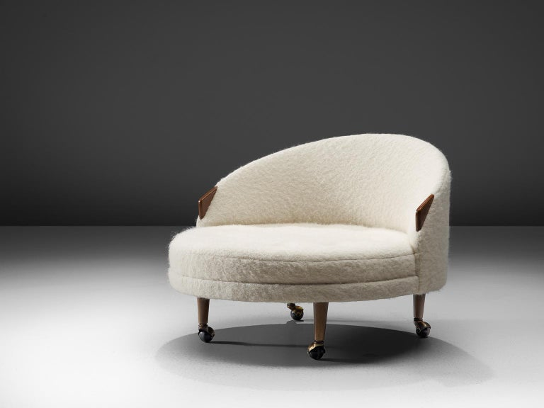 Mid-20th Century Adrian Pearsall Havana Lounge Chair and Ottoman in Pierre Frey Wool For Sale