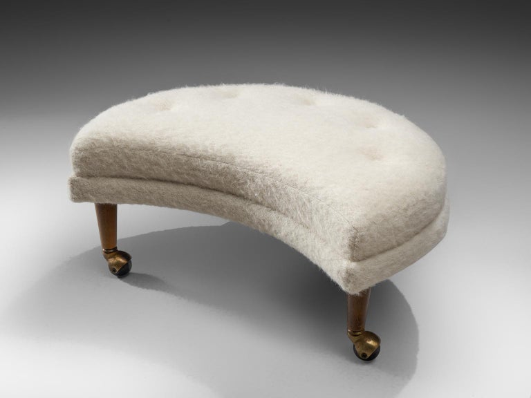 Brass Adrian Pearsall Havana Lounge Chair and Ottoman in Pierre Frey Wool For Sale