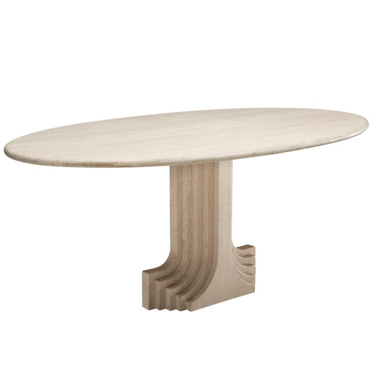 Carlo Scarpa Dining Table in Travertine