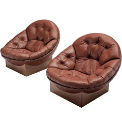 Illum Wikkelsø Lounge Chairs in Original Leather and Rosewood