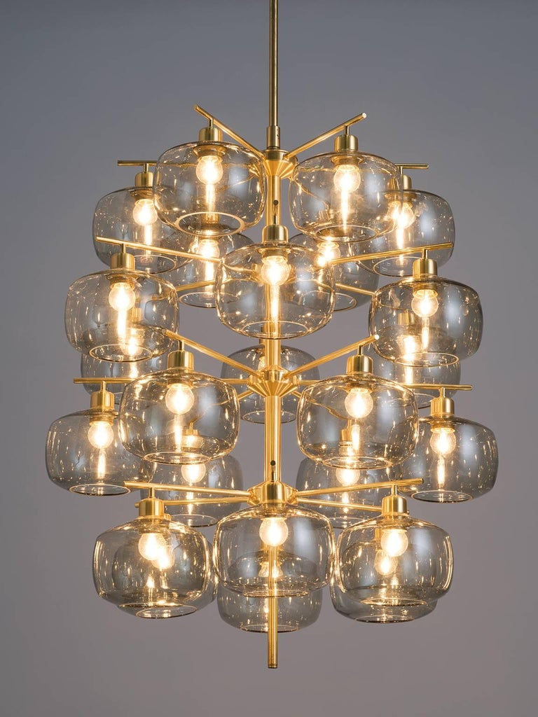 Large Swedish Chandeliers by Holger Johansson, 1952 In Good Condition In Waalwijk, NL