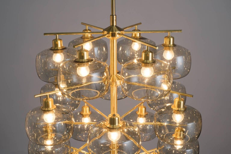 Brass Large Swedish Chandeliers by Holger Johansson, 1952