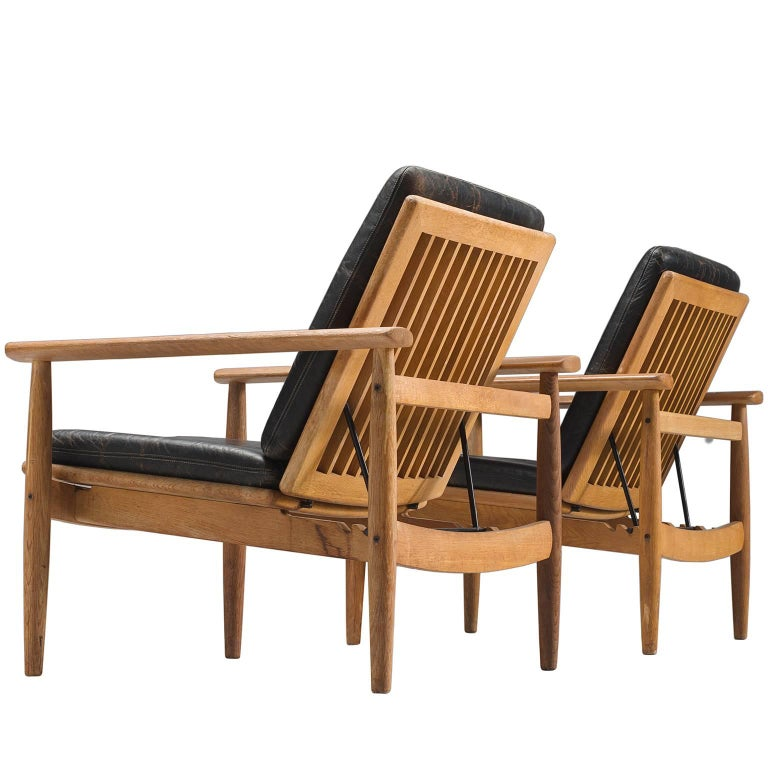 Johan Hagen Oak Armchairs in Original Leather For Sale