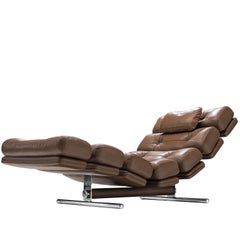 Ric Deforche 'Lord' Chaise Longue in Brown Leather