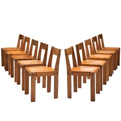 Pierre Chapo Set of Ten 'S24' Chairs in Elm and Cognac Leather