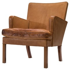 Kaare Klint Lounge Chair with Light Cognac Leather and Mahogany