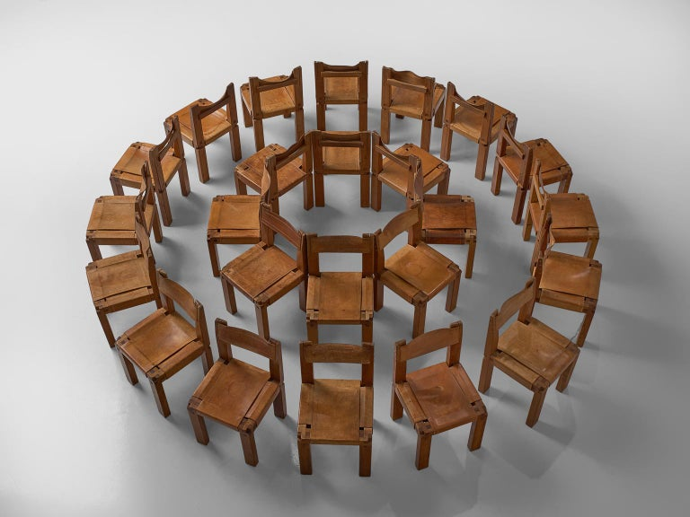 Mid-Century Modern Pierre Chapo Large Set of Twelve S11 Dining Chairs For Sale