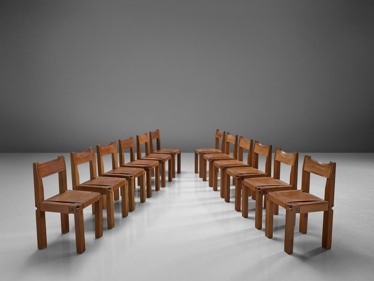 Pierre Chapo Large Set of Twelve S11 Dining Chairs In Good Condition For Sale In Waalwijk, NL