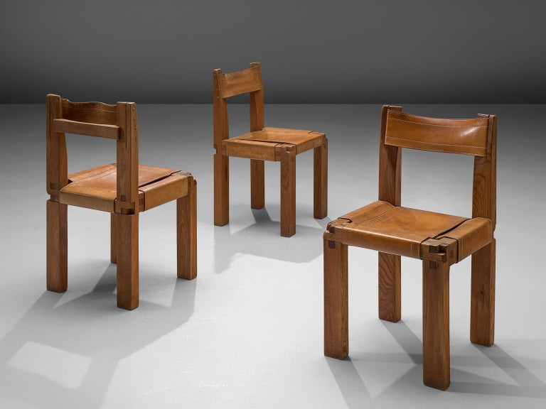 Leather Pierre Chapo Large Set of Twelve S11 Dining Chairs For Sale