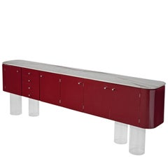 French Hanging Sideboard with White Marble Top