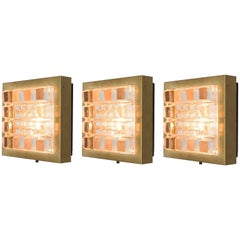Set of Three Geometric Wall Lights in Brass and Glass