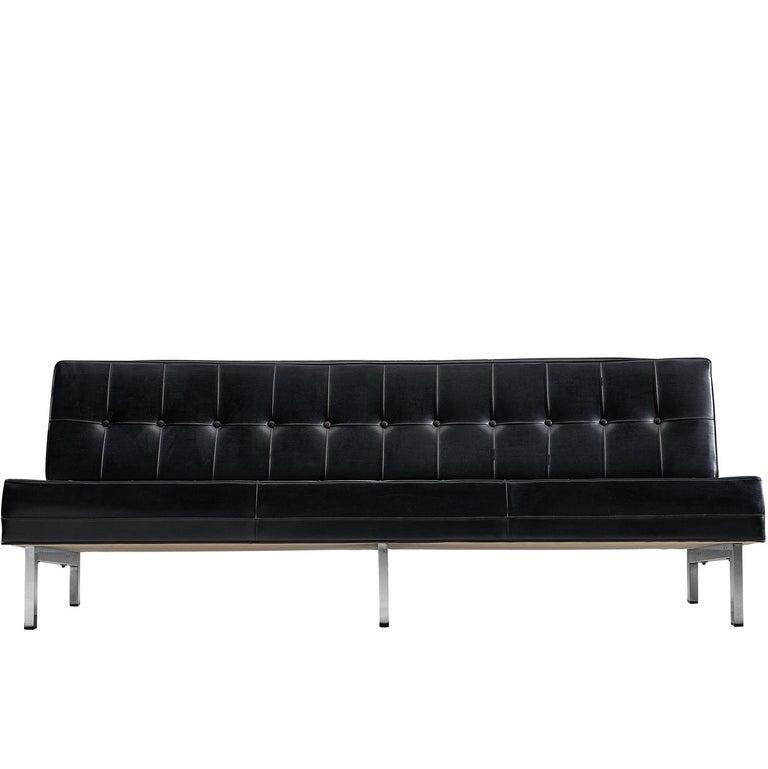 Ico Parisi Black Leather Sofa, 1960s