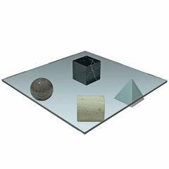Massimo & Lella Vignelli 'Metafora' Coffee Table in Marble and Travertine