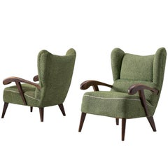 Pair of Lounge Chairs with Sculptural Wooden Frame