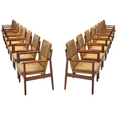 Arne Vodder Set of Sixteen Dining Chairs with Light Cognac Leather