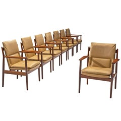 Arne Vodder Set of Eight Dining Chairs with Cognac Leather