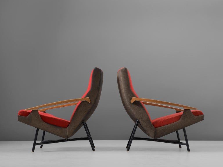 Mid-Century Modern Claude Vassal Set of Two Lounge Chairs in Duo-Tone Upholstery For Sale