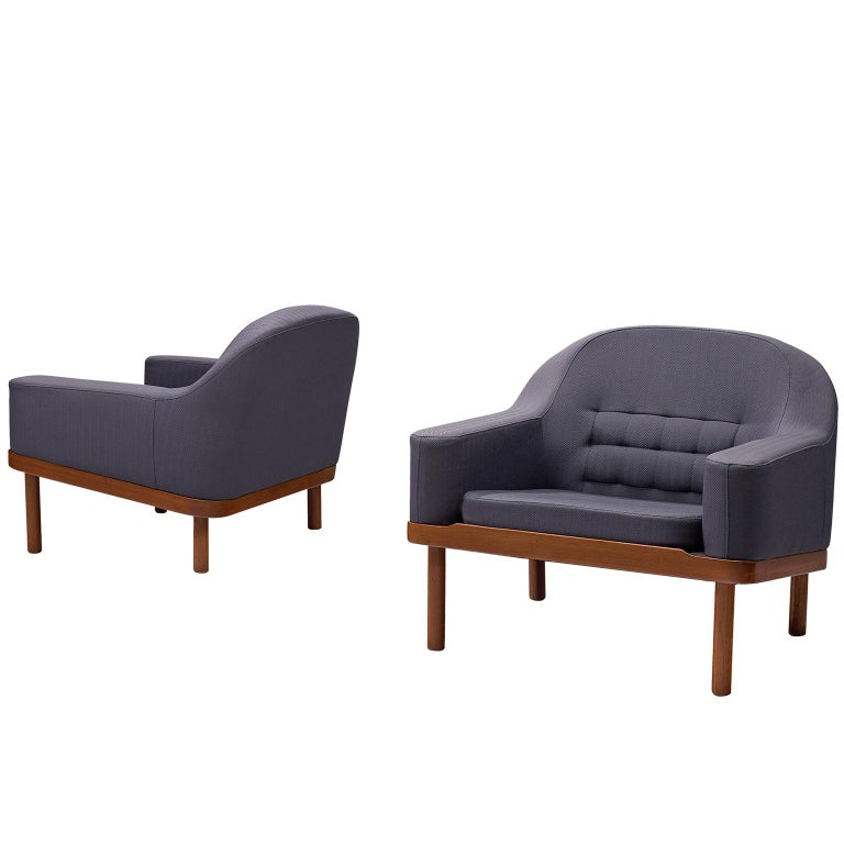 Pair of Scandinavian Lounge Chairs in Teak and Fabric Upholstery
