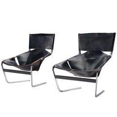 Pierre Pair of F-444 Lounge Chairs in Black Leather