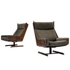 Jorge Zaszupin Reupholstered Rosewood High Back Chairs