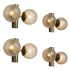 Set of 4 Brass Colored Wall Lights with Structured Glass