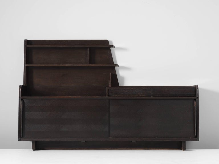 Mid-Century Modern Guillerme & Chambron Dark Stained Sideboard in Oak For Sale