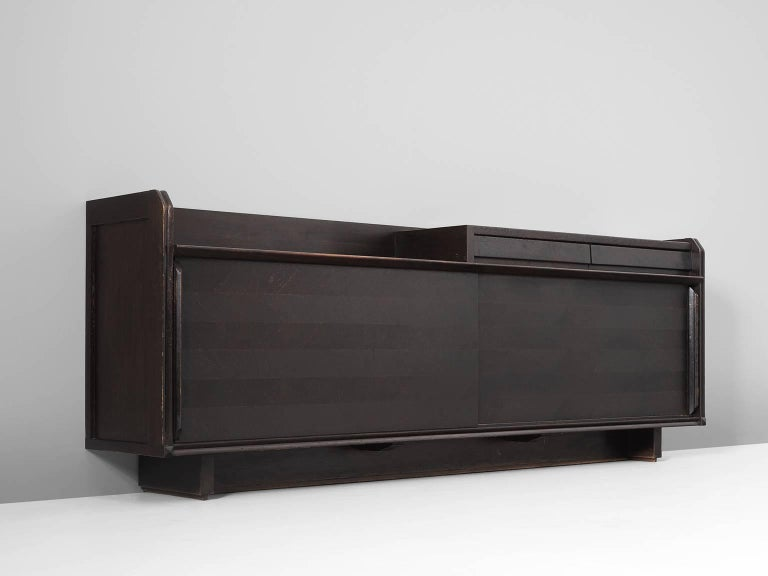 Guillerme & Chambron Dark Stained Sideboard in Oak In Good Condition For Sale In Waalwijk, NL