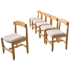 Six Guillerme et Chambron Dining Chairs in Solid Oak
