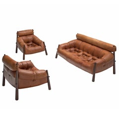 Percival Lafer Pair of 'Mp-81' Lounge Set in Rosewood and Cognac
