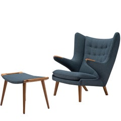 Hans Wegner Reupholstered Papa Bear Chair with Ottoman