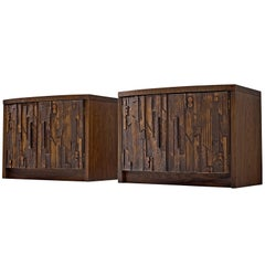 Brutalist Set of Two Cabinets in Oak, 1960's