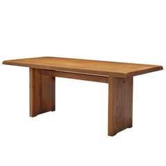 Pierre Chapo Patinated 'T14B' Dining Table in Solid Elm