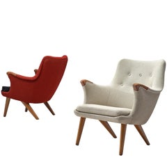 Danish Lounge Chairs in Oak, Grey, and Red Fabric, 1960s
