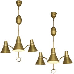 Swedish Pair of Adjustable Chandeliers in Brass, 1950s