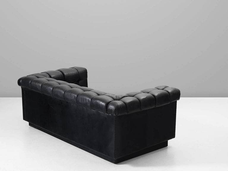 Mid-Century Modern Edward Wormley Tufted Two-Seat Sofa in Black Leather For Sale