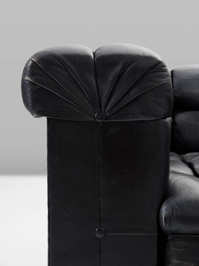 Edward Wormley Tufted Two-Seat Sofa in Black Leather For Sale 1