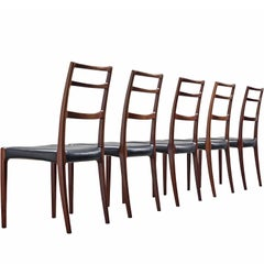 Gunni Omann Danish Dining Chairs in Black Leather and Mahogany